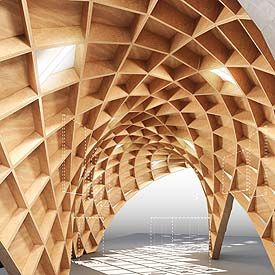 A picture of a circular wave made of wood panels arching over a floor