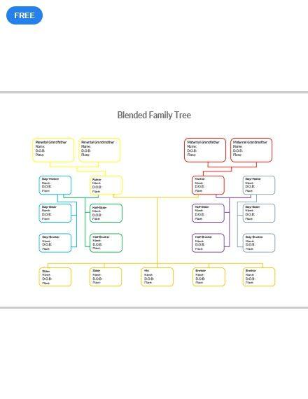 Free Blended Family Tree Family Tree Template Family Tree