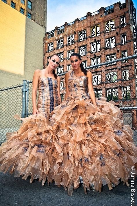 how's this for being green and beautiful~ plastic bag dresses!