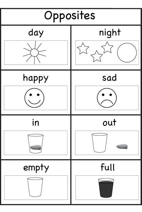 Image Result For Worksheets For 3 Year Olds Opposites Preschool School Worksheets Kindergarten Worksheets