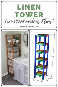 DIY Linen Tower - Free Plans - Handmade Weekly wood w Easy Woodworking Projects, Woodworking Techniques, Woodworking Furniture, Diy Wood Projects, Wood Furniture, Woodworking Tools, Woodworking Machinery, Woodworking Patterns, Woodworking Workshop
