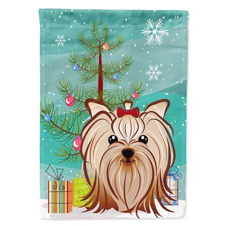 Christmas Tree And Yorkie Yorkshire Terrier Garden Flag Multicolor Yorkie Yorkshire Terrier Yorkie Yorkshire Terrier