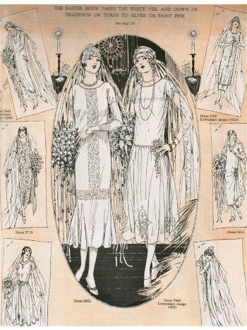 1920s bridal and bridesmaid gown fashion illustrations   la belle ...