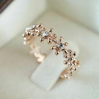 LIZA SHOP Luxury Flower Crystal Rhinestone Leaf Silver /& Gold Filled Adjustable Women Ring Adjustable