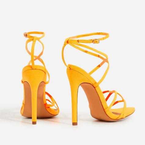 5c63d84fc45a Kaia Pointed Barely There Heel In Neon Orange Faux Suede in 2018 ...