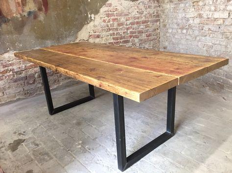 Esstisch_Hagen Gerüstbohlen Holz Tisch recycled upcycle - moderner esstisch holz stahl