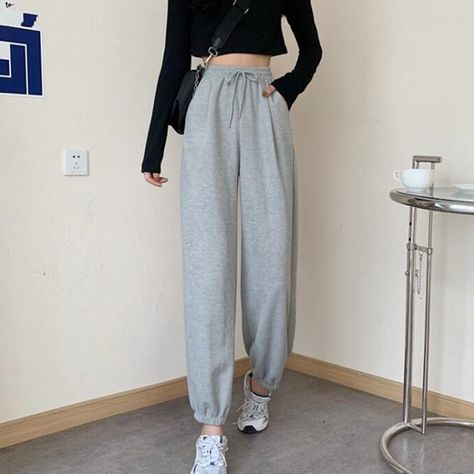 10.3US $ 32% OFF Sweatpants Women Clothes Pants Streetwear 2021 Summer Fashion Korean Style Wide Leg Harajuku Baggy Black High Waisted Vintage Pants & Capris    - AliExpress