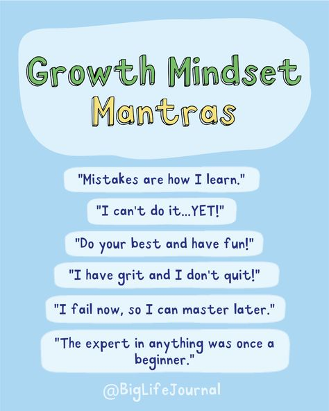Having a growth mindset is powerful! There are many ways we can cultivate a growth mindset each day. Mantras and statements are simple and effective tools to encourage children and they can be used in a variety of ways. You can start using these in your home or classroom!