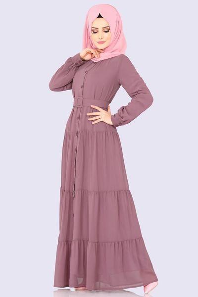 Modaselvim Elbise Kemerli Elbise Ferace 2049ab368 Gul Kurusu Pakaian Wanita Model Pakaian Muslim Model Pakaian Hijab