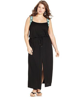 Jessica Simpson Plus Size Sleeveless Beaded Drawstring Maxi ...