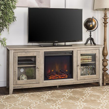 Walker Edison Fireplace Tv Stand For Tvs Up To 64 Grey Wash Walmart Com Fireplace Tv Stand Electric Fireplace Tv Stand Highboy Tv Stand