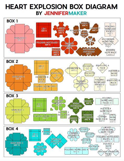 Heart Explosion Box Template Diagram