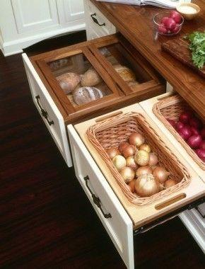 Fantastisch idee voor in de nieuwe keuken: manden in de lades maken voor aardappelen, uien en brood. Gezien op Pinterest