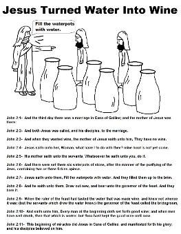 Jesus Turns Water Into Wine Coloring Pages Kids Bible Study
