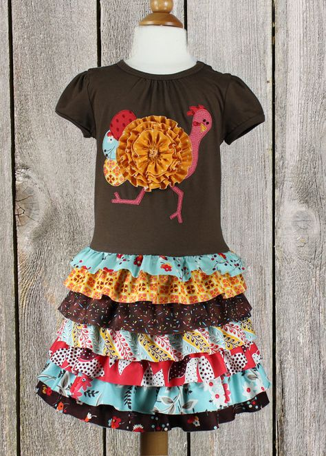 Thanksgiving ruffles toddler girls t-shirt dress by mackandlilypatterns.  Run turkey...run!!