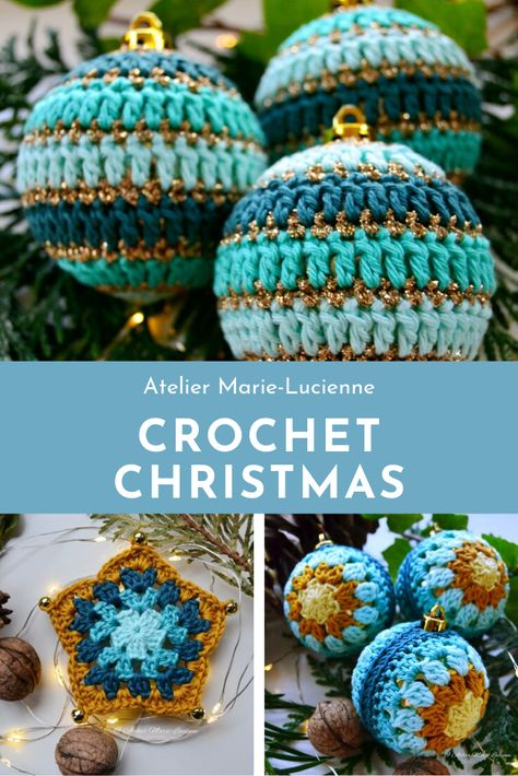 Crochet Christmas Baubles and Crochet Christmas Ornaments in different shapes and colours to be found in my Etsy-Shop. Eye-catcher on any Christmas tree and they make an exceptional and unique gift! Go and have a look! #christmasbauble #crochet #christmas #crochetchristmas #christmascrochet #weihnachtskugeln #häkelsterne #weihnachtsgeschenk #weihnachtshäkelei #crochetbauble #weihnachten