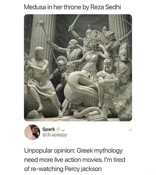 greek statue Medusa in her throne by Reza Sedhi Unpopular opinion: Greek mythology need more live action movies. I'm tired of re-watching Percyjackson popular memes on the site Greek Memes, Funny Greek, Greek And Roman Mythology, Greek Gods And Goddesses, Medusa Greek Mythology, Statues, Oncle Rick, Religion, Unpopular Opinion