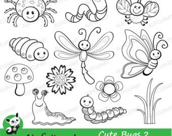 Bugs Clipart Cute Bugs Clipart Coloring Clipart Set Clip Art Bugs Drawing Art Drawings For Kids