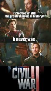 #saviorgaming #movie #meme #memes #civilwar #avengers #footloose #spiderman #marvel #starlord