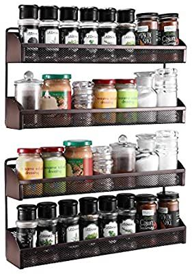 Amazon Com 2 Pack Simple Trending 2 Tier Spice Rack Organizer Wall Mounted Spice Shelf Storage Holder For In 2020 Spice Rack Organiser Spice Shelf Home Improvement