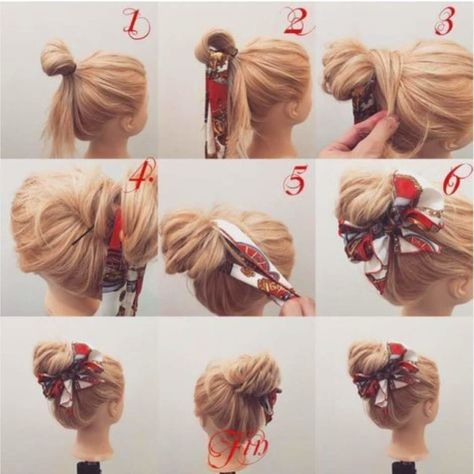 80s Style Scarf Tied Top Knot For Long Straight Hair