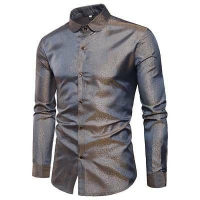 Men/'s Button Down Long Sleeve Slim Fit Dress Shirt Silk Casual Shirt Tops Blouse