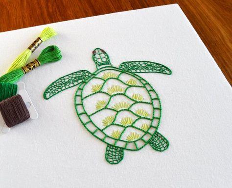 Anatomical Turtle hand embroidery pattern, a modern embroidery pattern PDF