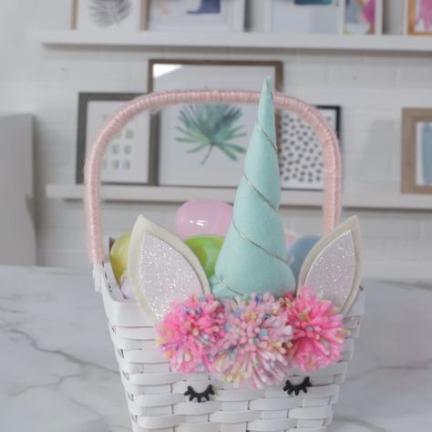 This mythical unicorn Easter basket will fill your heart with serious hoppiness. #bhg #easter