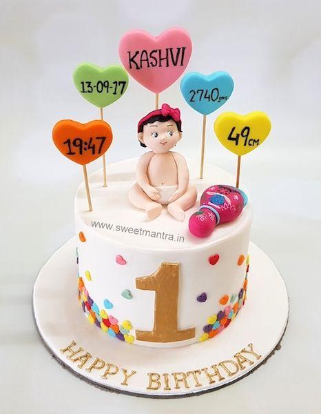 1st Birthday Theme Customized Designer Fondant Cake With Birth Details At Pune Baby Boy Birthday Cake 1st Birthday Cakes First Birthday Cakes
