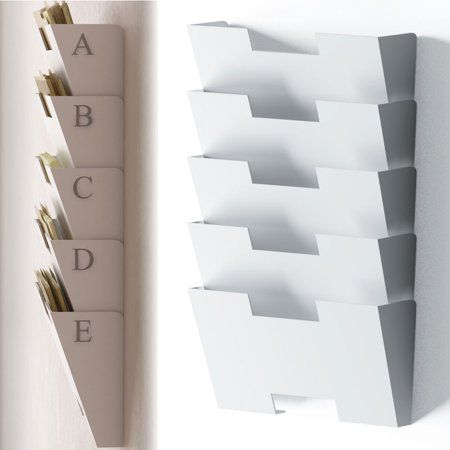 Free Shipping Buy White Wall Mount Steel File Holder Organizer Rack 5 Sectional Modular Design Wider Than Letter Si Wall File Wall File Organizer File Holder