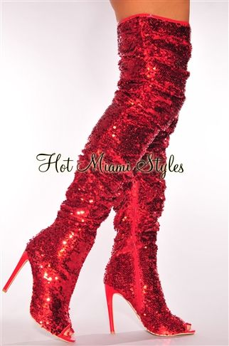 Make an unforgettable entrance in these glamorous and sexy red sequins ruched thigh-high boots.