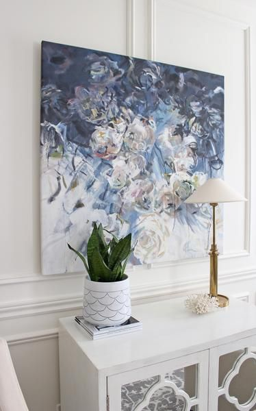 Original abstract flower oil painting by Celine Ziang Art, Moody flower painting by Celing Ziang Art, Modern abstract art by Celine Ziang, Blue flower oil painting, living room art