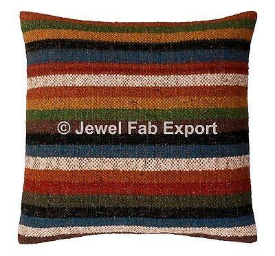 Indian Cushion Cover Jute Wool Cushion Cover Handwoven Sofa Back Cushion Cover Fashion Home Garden Homedcor Hand Woven Pillows Woven Pillows Wool Cushion