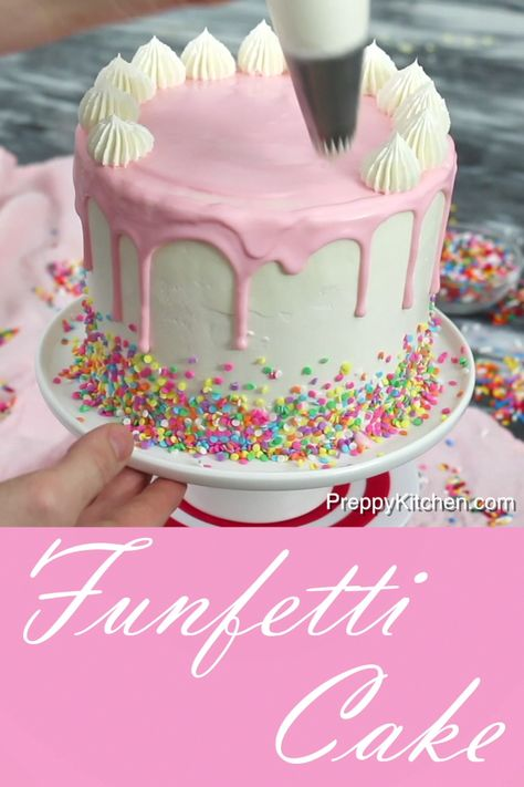 How to make a funfetti cake, then, decorate it with frosting and drips #preppykitchen #funfetti #cake #howto #cakedecorating #desserts #bestcakes