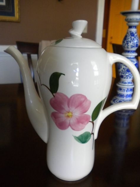 Mom had a whole set of dinnerware like this and this coffee pot. Rio pattern/ stetson pottery