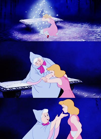 Cinderella: Oh, no. No, it isn't true. It's just no use. No use at all. I can't believe. Not anymore. There's nothing left to believe in. Nothing. Fairy Godmother: Nothing, my dear? Oh, now you don't really mean that. Cinderella: Oh, but I do… Fairy Godmother: Nonsense, child. If you'd lost all your faith, I couldn't be here. And here I am.