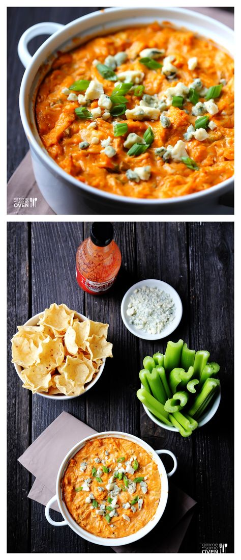 Skinny Buffalo Chicken Dip -- the fabulous dip you love, without all of the usual calories! #appetizer #dip #recipe