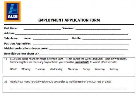 Aldi Job Application Form Job Application Printable Job Applications Employment Application