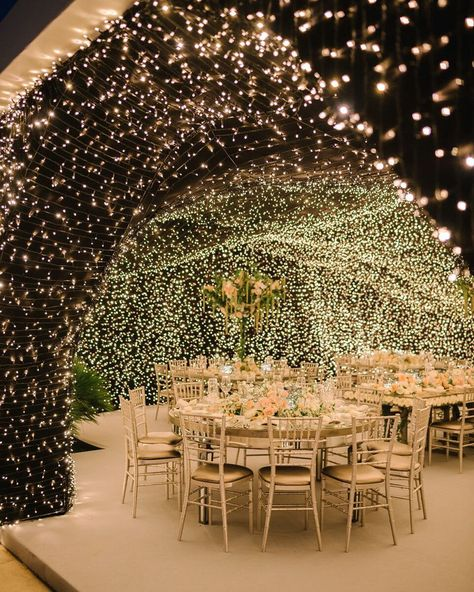 At Chiara Ferragni's wedding reception, guests dined under a cave of lights where a Sicilian dinner was served. Tap the link for more. wedding reception Chiara Ferragni's Dream Italian Wedding Wedding Ceremony Ideas, Outdoor Wedding Decorations, Outdoor Ceremony, Ceremony Decorations, Reception Ideas, Wedding Aisles, Wedding Backdrops, Wedding Ceremonies, Ceremony Backdrop