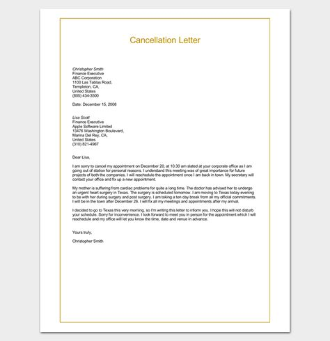 sample termination business letter examples word pdf cancel back - copy sample letter cancelling job interview