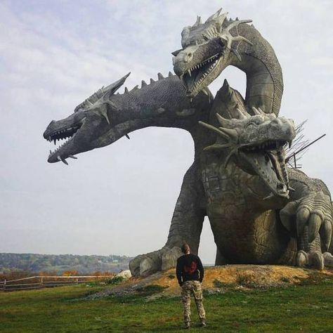 """"""" sixpenceee: """" A three-headed dragon statue in Russia. It's representative of Zmey Gorynych, a dragon in Slavic mythology. """" This is quite possibly the coolest dragon statue ever!"""