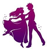 princess cartoon : silhouette of prince and princess dancing together