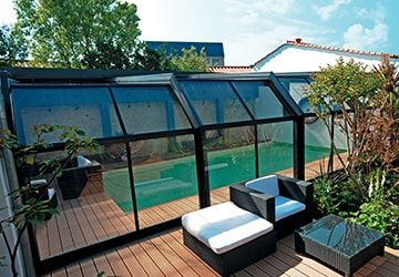 Abri De Piscine En Aluminium Fabrication Sur Mesure Abri De Piscine Gustave Rideau Patio Shade Swimming Pool Enclosures Pool Cover