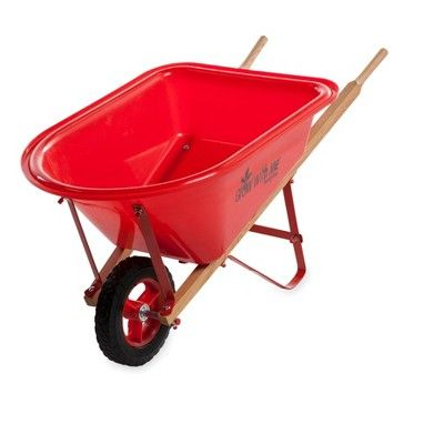 Kid S Garden Wheelbarrow With Wood Handles Steel Braces And Solid Tire Hearthsong Gardening For Kids Wheelbarrow Garden Wheelbarrow