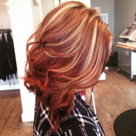 Beautiful copper lob with blonde highlights., copper hair color for auburn ombre brown amber balayage and blonde hairstyles #BlondeHairstylesShort