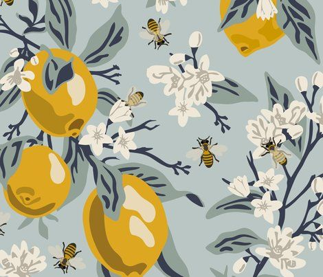 Colorful Fabrics Digitally Printed By Spoonflower Bees Lemons Jumbo Blue Original Colors Fruit Wallpaper Wallpaper Honey Bee Decor