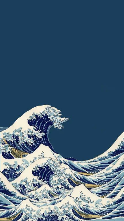 (Oc) A wallpaper I made - (extended version of the Great Wave Off Kangawa)