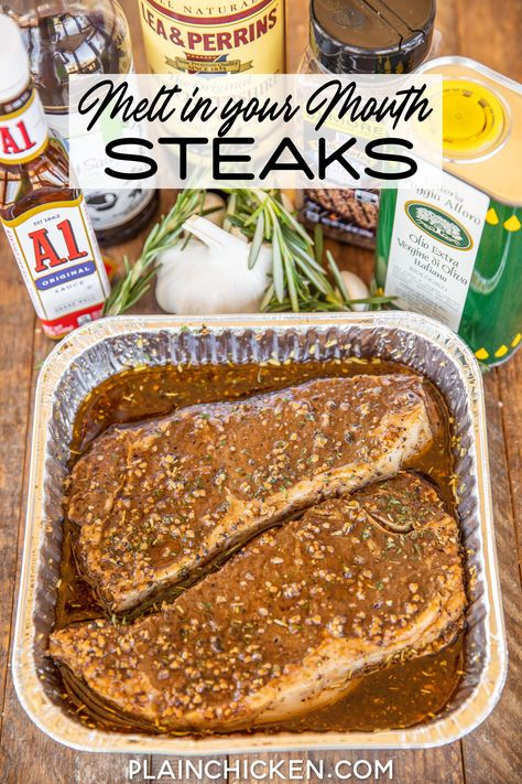 Melt in Your Mouth Steaks - the best steak marinade EVER! The steaks are so tender and juicy. They literally melt in your mouth! Olive oil, Worcestershire sauce, soy sauce, garlic, onion, rosemary, pepper, A1 Steak sauce, and Montreal Steak Seasoning. Can use on any cut of steak - ribeye, sirloin, NY Strip or filet. One bite and you will never use another marinade recipe. SO good! #steak #marinade #grill Steak Recipes, Grilling Recipes, Cooking Recipes, Game Recipes, Recipies, Beef Dishes, Food Dishes, Steak Marinade Best, Steak Marinades