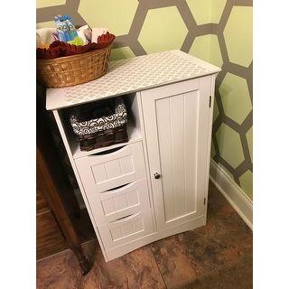 Riverridge Ashland Collection Painted 1 Door 3 Drawer Floor Cabinet Flooring Drawers Storage Baskets
