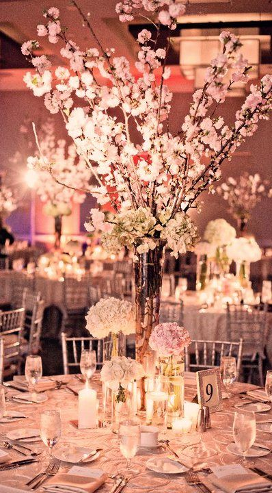 Beautiful! I love how tall the centerpiece in the center is. Also reminds me of beautiful cherry blossoms :D